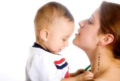 Baby and his mum - mothercare Royalty Free Stock Images