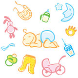 Baby and his things. Vector set of small fun cheerful baby and his things Royalty Free Stock Photography