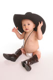 Baby in hoed en bolo Royalty-vrije Stock Afbeeldingen
