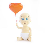 Baby holding a balloon heart Stock Image