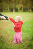 Baby holding brother hand Royalty Free Stock Photos