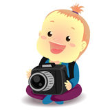 Baby holding a Digital Camera Stock Photo
