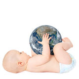 Baby holding earth globe Royalty Free Stock Photography