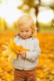 Baby holding fallen leaves Royalty Free Stock Photo