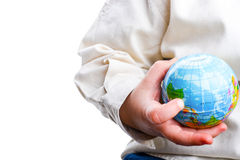 Baby holding a globe Stock Photography