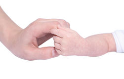 Baby Holding Mothers hand. Isolated on white Royalty Free Stock Photos