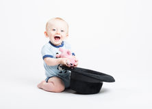 Baby Holding Stuffed Animal Pulled Out of Black Hat. A 6 month old baby kneeling on white finds a stuffed animal pig is inside a black fedora hat and smiles at royalty free stock images