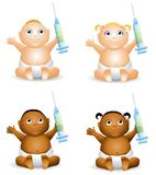 Baby Holding Syringe. An illustration featuring your choice of happy smiling baby - african american and caucasian - boys and girls - holding syringes to Royalty Free Stock Images
