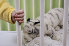 Baby holding on to her bed Royalty Free Stock Image