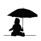 Baby holding umbrella vector silhouette Stock Images