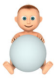 Baby holding white ball. (space for your text), 3d render isolated on white Stock Images