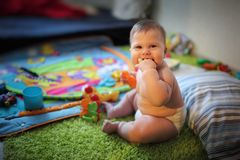 Baby at home Stock Photography
