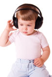 Baby in hoofdtelefoons royalty-vrije stock foto