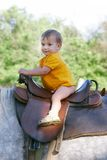 Baby on horseback Stock Images