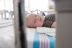 Baby In Hospital. Bed getting medical treatment royalty free stock photo