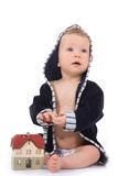 Baby with house model Royalty Free Stock Photography