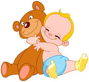 Baby hug bear stock images