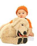 Baby Hugging Stuffed Animal Royalty Free Stock Image