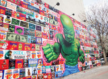 Baby Hulk Mural. A new artwork Temper Tot that depicts, Hulk as a baby, by the artist Ron English is on display at the corner of Houston and Bowery in NYC Stock Photos