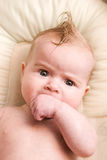 Baby with Humorous Hair Stock Image