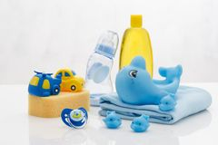 Baby hygiene essentials still life royalty free stock images