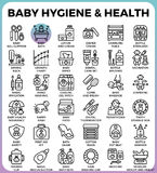 Baby hygiene and health. Concept detailed line icons set in modern line icon style concept for ui, ux, web, app design stock illustration