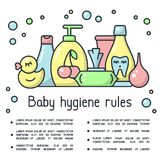 Baby hygiene rules placard with hygiene accessories and sample text. Cartoon style vector illustration stock illustration