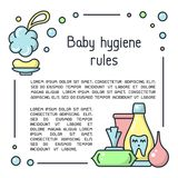 Baby hygiene rules poster with hygiene accessories and sample text. Cartoon style vector illustration stock illustration