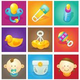 Baby icon collection Royalty Free Stock Photo