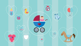Baby icon collection set with soft color and object such as stroller, horse, toys, diapers, clothes  bottle Stock Image