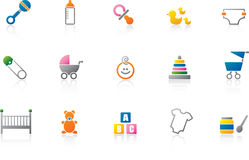 Baby Icon set - Color. Full color version of a set of modern baby icons. EPS file available for download - customize this file Royalty Free Stock Photo