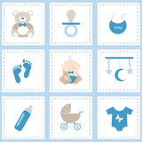 Baby icon set. Baby shower icons set, boy blue. Flat vector design royalty free illustration