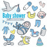 Baby icon set, vector illustration hand drawn in doodles Stock Photography
