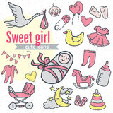 Baby icon set, vector illustration hand drawn in doodles Stock Image
