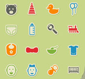 Baby icon set. Baby web icons for user interface design Royalty Free Stock Photography