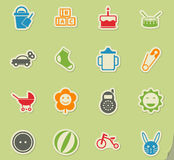 Baby icon set. Baby web icons for user interface design Stock Images