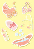 Baby icons. The image of the baby accessories. A vector illustration Stock Photography