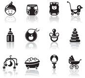 Baby icons. Set of minimalistic baby icons Royalty Free Stock Photos