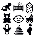 Baby icons. Vector black baby icons set on gray Stock Photo
