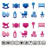 Baby icons. Blue and pink baby care icons Stock Photography