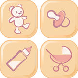 Baby icons. Buttons with baby related objects Stock Images