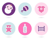 Baby icons and accessories set Stock Photos