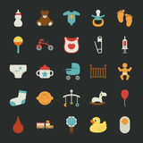 Baby icons with black background Stock Photo