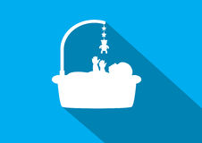 Baby  icons on blue backgrounds Royalty Free Stock Images