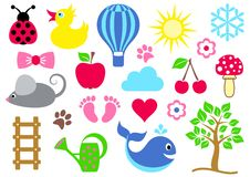 Baby icons Royalty Free Stock Photography