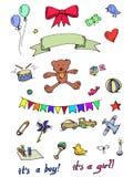 Baby Icons. Doodle Elements Set Royalty Free Stock Photo