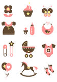 Baby icons - girl Royalty Free Stock Photo