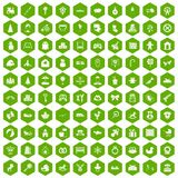 100 baby icons hexagon green. 100 baby icons set in green hexagon isolated vector illustration Royalty Free Stock Photo