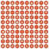 100 baby icons hexagon orange Royalty Free Stock Photos