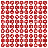 100 baby icons hexagon red. 100 baby icons set in red hexagon isolated vector illustration Stock Image